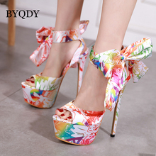 BYQDY Fashion Women Heeled Sandals Ankle Strap Pumps Super High Heels Flower Color Peep Toe Lace-Up Dress Lady Russian Shoes