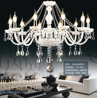 Modern Brief European Style White CandleK9 Crystal Chandeliers 3 6 8 10 12 Arms E14 Candle