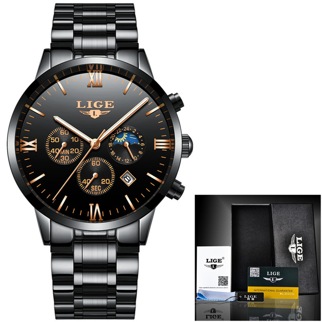 LIGE Mens Watches Top Brand Luxury Chronograph Quartz Watch Men Full Steel Casual Waterproof Sport Watch Black Relogio Masculino