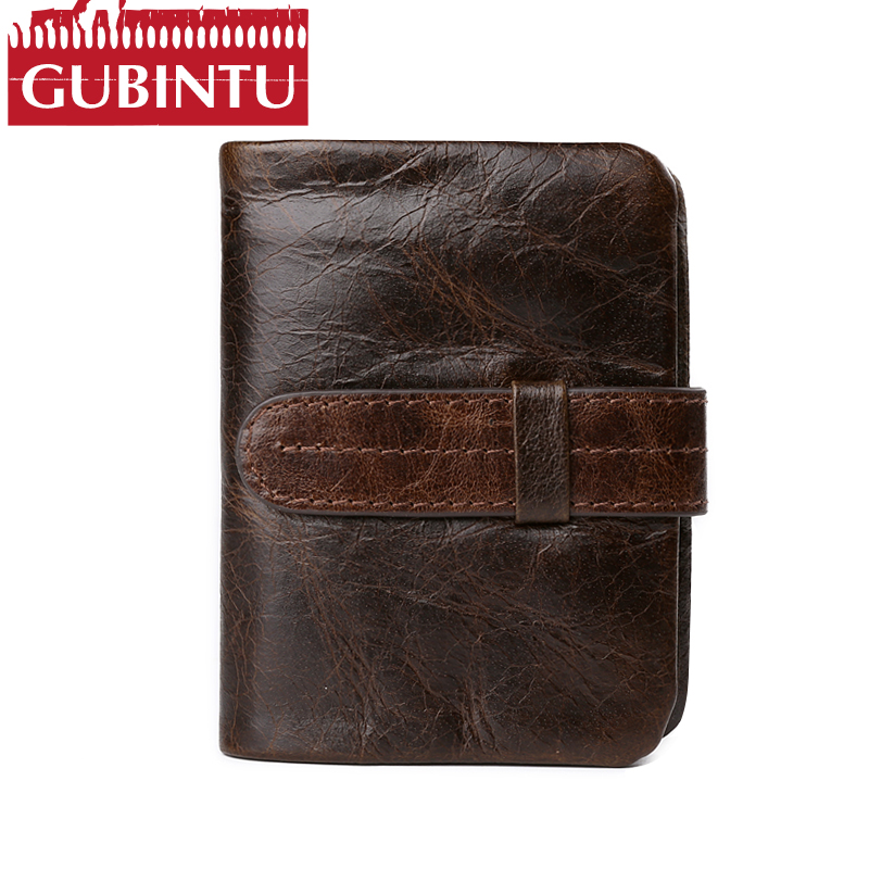 Luxury Vintage 100% Real Genuine Cowhide Leather Men Short Bifold Wallet Coin Pocket Purse Male Zipper Design magic Mini Vallets ...