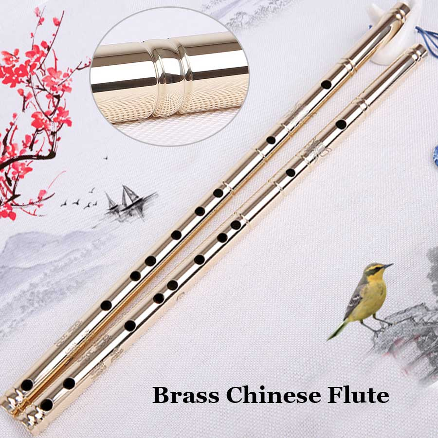 Chinese Brass Flute Dizi Traditional Metal Flauta Transverse Wind Musical Instrument Beginner Heavy Self Defense Tool G key Gift магия золота магия золота кольцо с аметистом и фианитом 122868