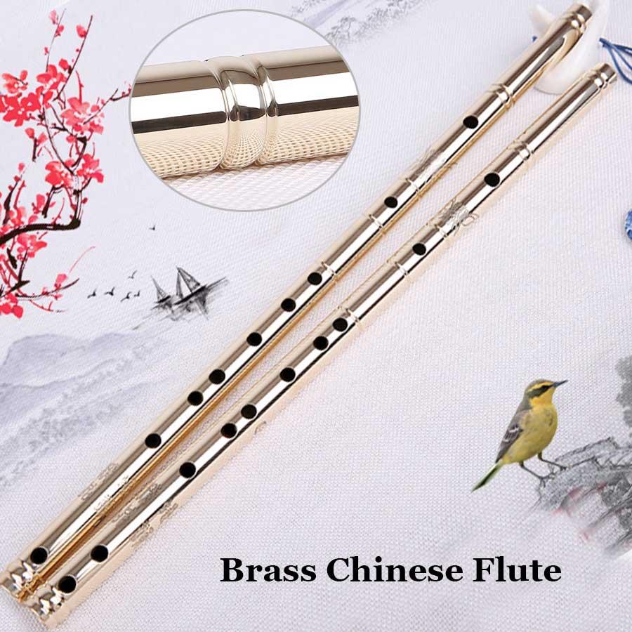 Flûte chinoise en laiton Dizi traditionnelle métal Flauta transversale vent Instrument de musique débutant lourd outil d'auto-défense G cadeau clé