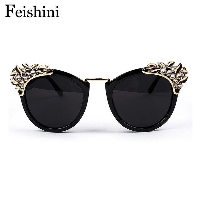 FEISHINI Oco Esculpida Diamante Olho de Gato óculos de Sol Oculos Feminino  Estética Ópticos óculos de d32204bef3