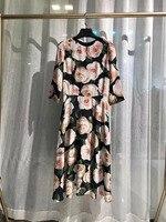 Подиумные платья 2019 женское высококачественное картина из 3 частей цветущее 3/4 рукав элегантное винтажное шелковое платье