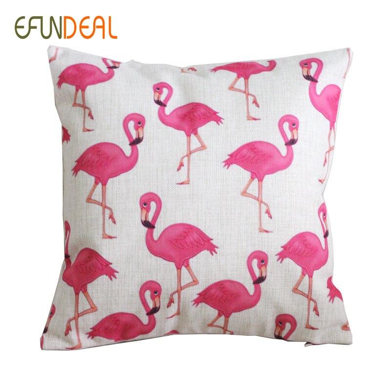 Vintage Lenjerie roz Flamingo Cushion Cover Arunca perna decorativă - Textile de uz casnic