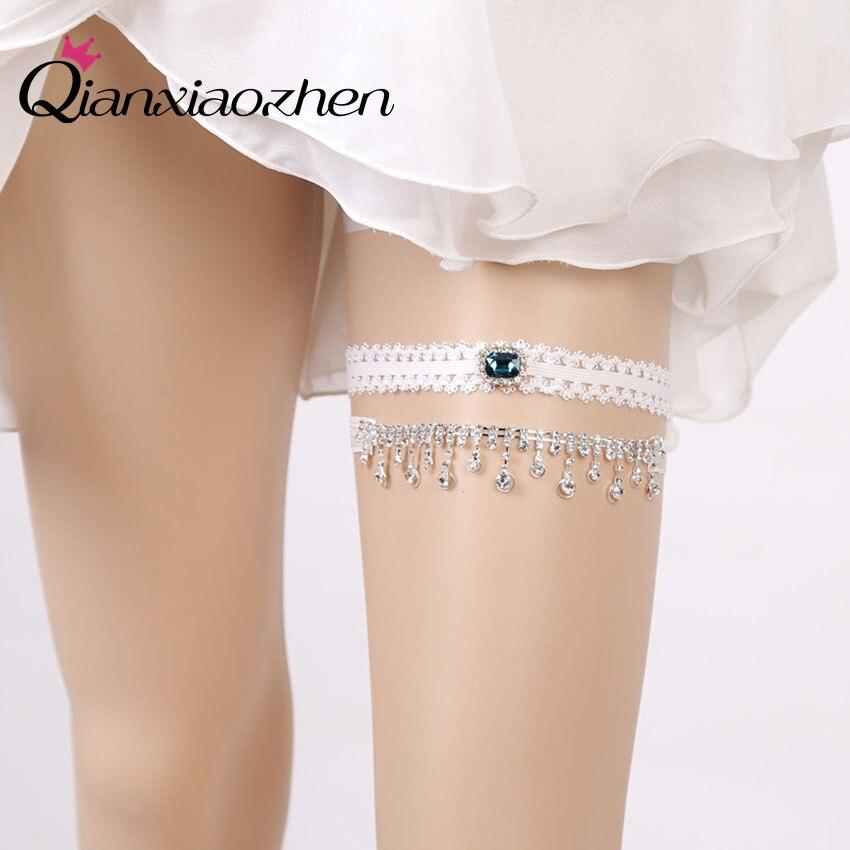 Diy Wedding Garter: Qianxiaozhen 2pcs/set Rhinestone Lace Leg Wedding Garter