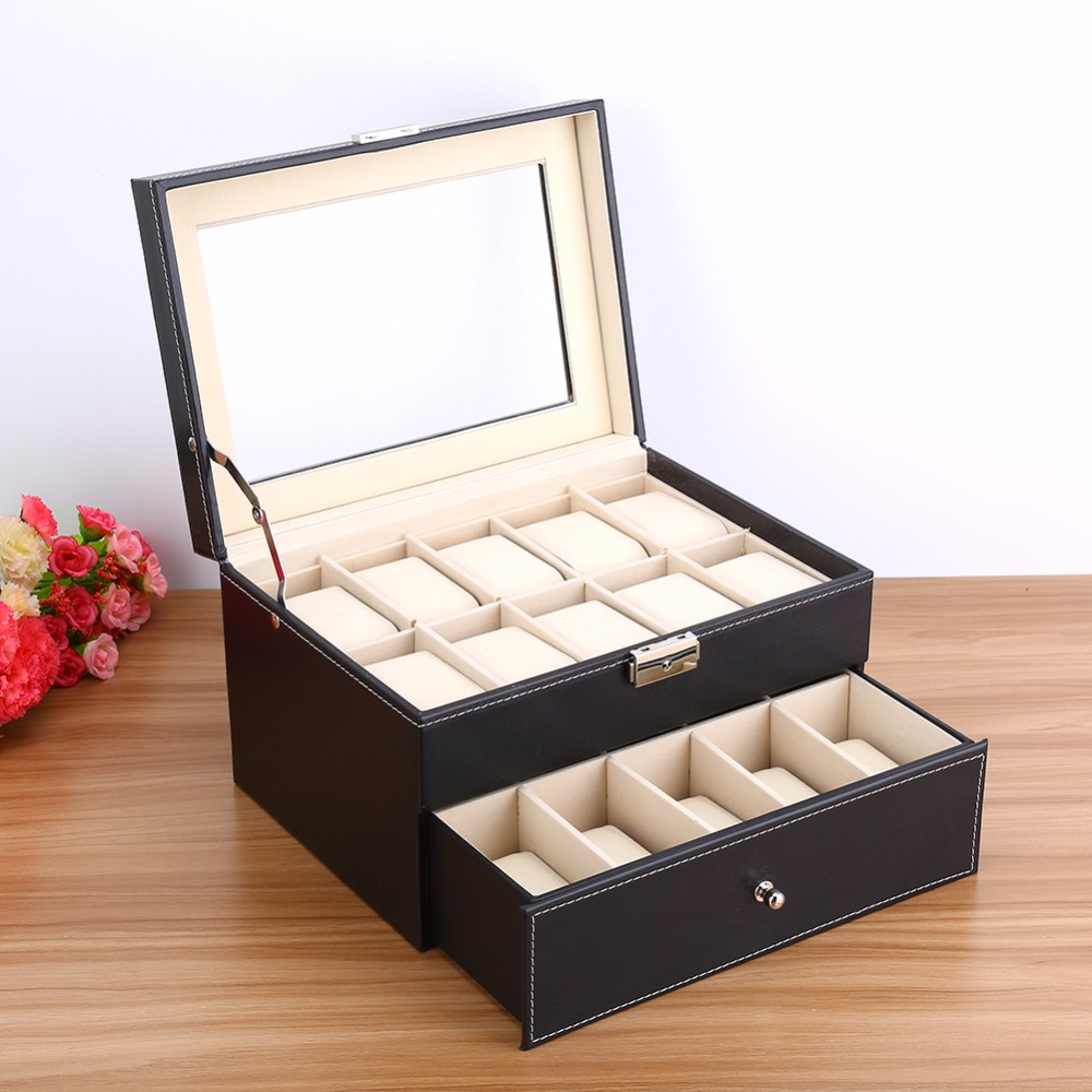 eed412621 6/10/12/20/24 Grids Luxury Jewelry Box Makeup,Casket Jewelry Trave Case  Birthday Gift Ring Earings Necklack Storage Container