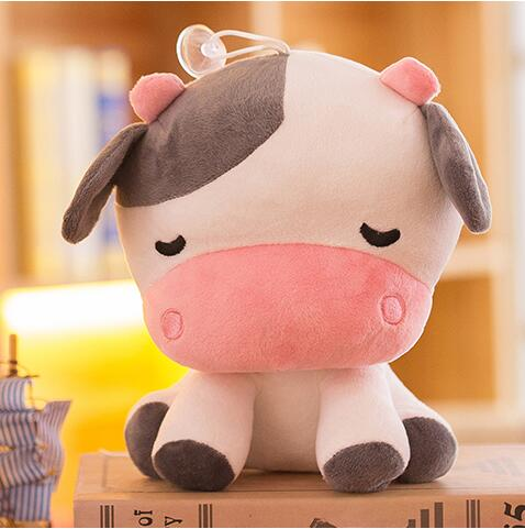 candice guo! super cute plush toy lovely Zodiac cow shy sitting cattle appease doll creative birthday Christmas gift 22cm 1pc
