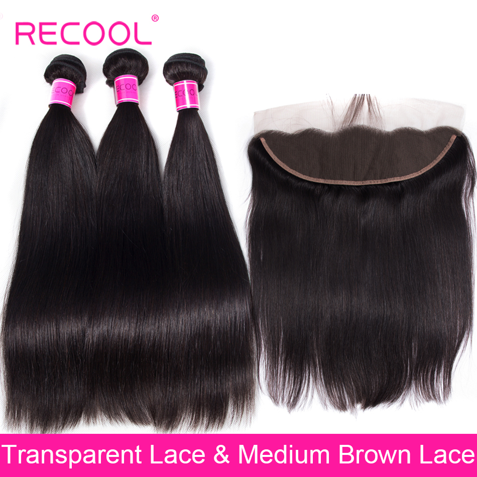 Brazilian Straight Human Hair 3 Bundles With Frontal Closure 13x4 HD Transparent Swiss Lace Frontal Closure