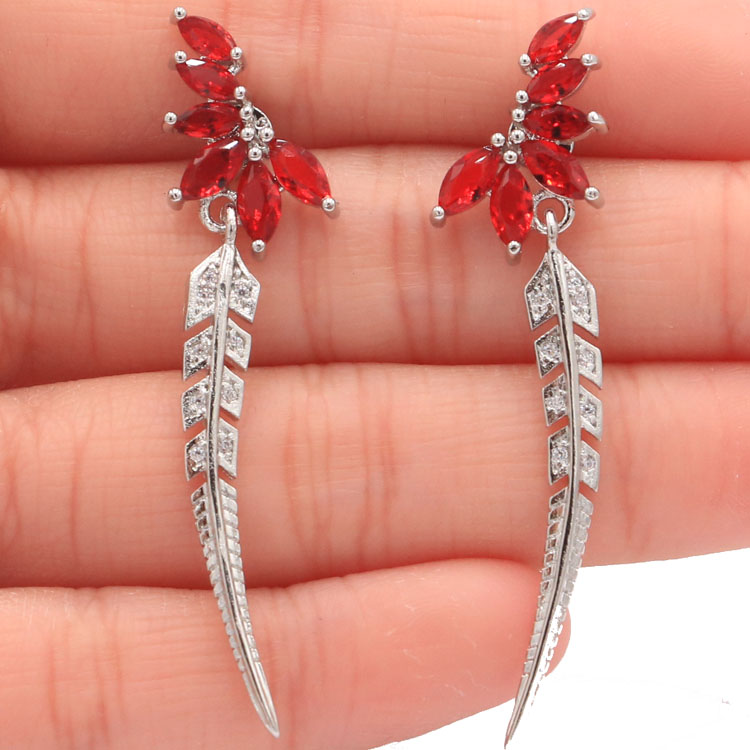 New Designed Long Feather Red Blood Ruby White CZ Ladies Wedding 925 Silver Earrings 50x12mm