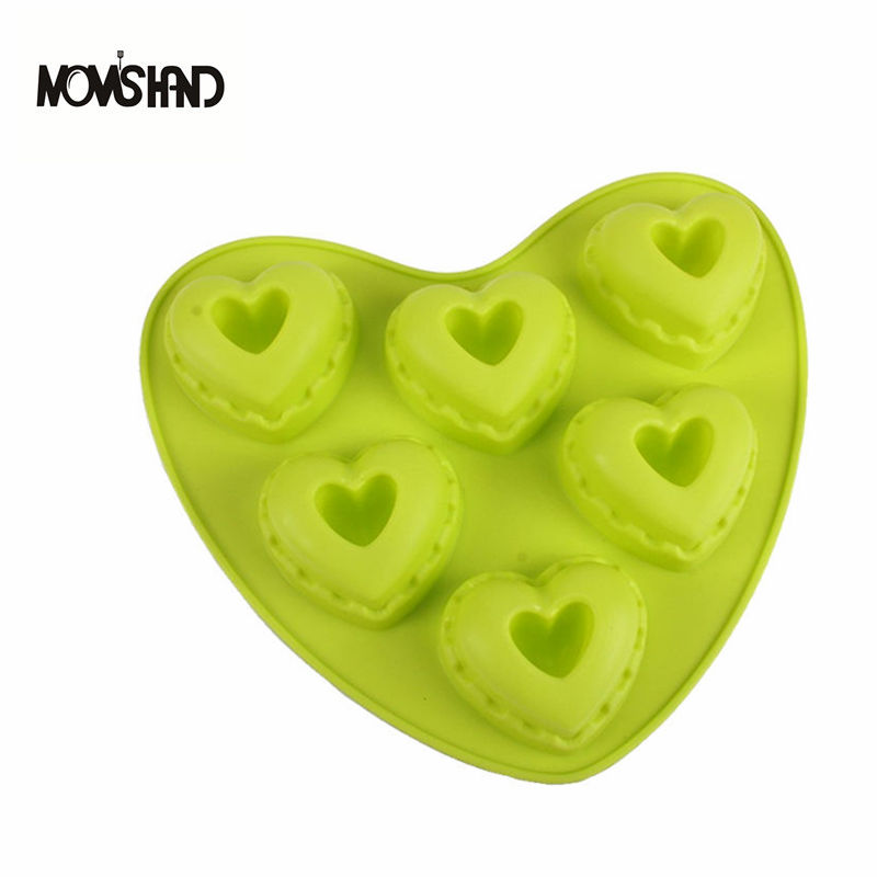6 Holes Heart Shape Silicone Cake Molds Silicone Jelly Pudding Chocolate Mold Handmade Soap Mould форма для нарезки арбуза