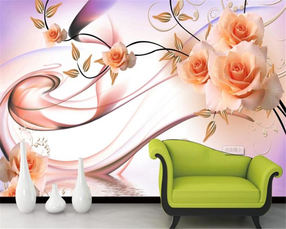 Beibehang 3D Wallpaper Rose Flower Vine Water Swan Reflection Mural Living Room Bedroom TV Background Mural papel de parede