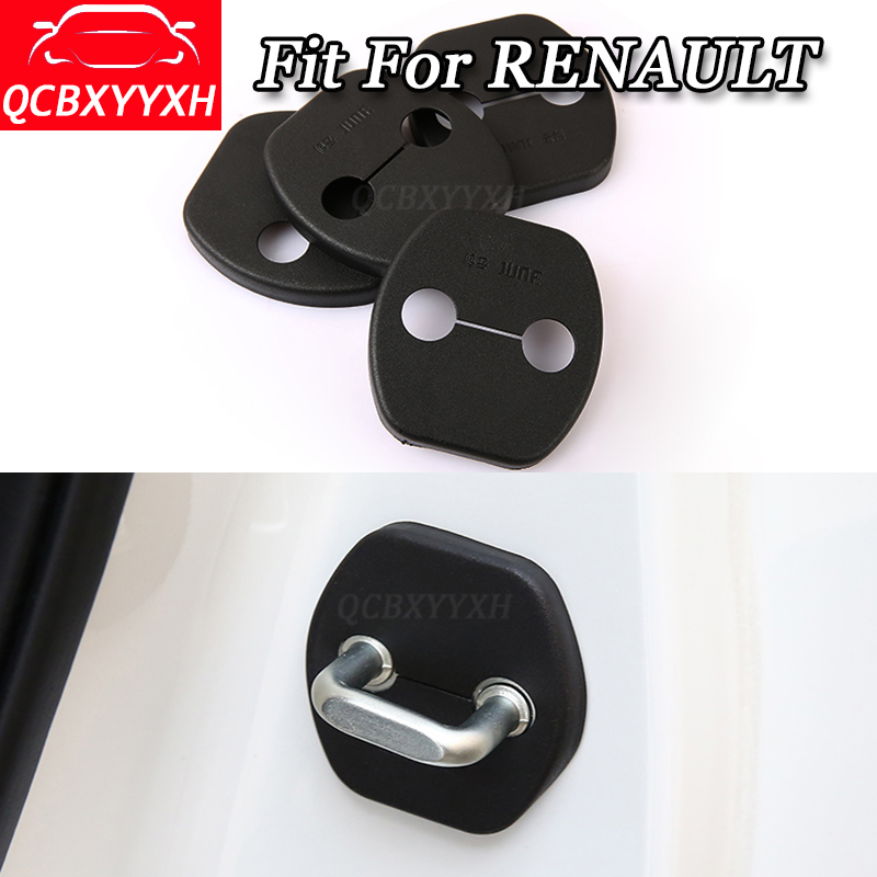 QCBXYYXH 4pcs/set Car Door Lock Protective Cover decoration Accessories For Renault Koleos Kadjar Captur Fluence Magane Latitude
