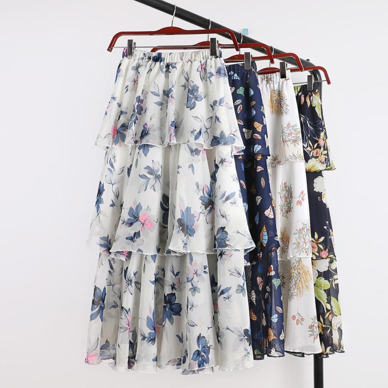 Korean style boho high waist skirt streetwear elegant summer chiffon skirts beach wear maxi skirt new arrival 2019 white skirt in Skirts from Women 39 s Clothing