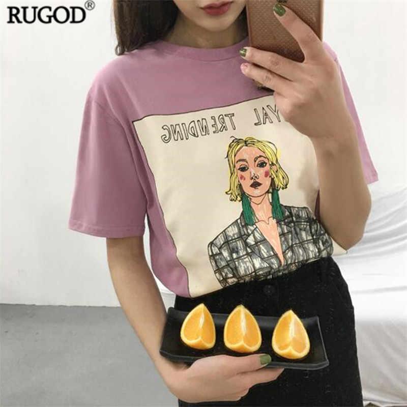 81190e1c RUGOD 2018 Women Tops Fashion Candy Color Cartoon Print T Shirt Women  Summer Casual O-