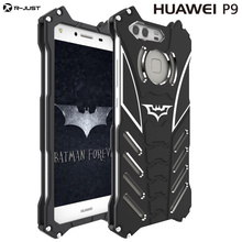 HUAWEI P9 P9 plus case,Armor Heavy Dust Metal Aluminum CNC BATMAN protect Skeleton head phone shell case cover+BATMAN bracket