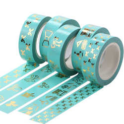 Gold Foil Washi Tape 15mm*10m Pink Tulip Bow Tie Scrapbooking Tools Cute Adhesiva Decorativa Japanese Stationery Washi Tapes