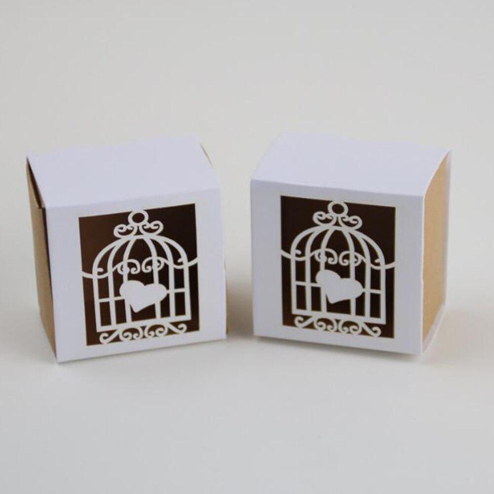 100 pieces/lot)LEISO Brand Wedding Favor Heart Boxes Birdcage Laser ...