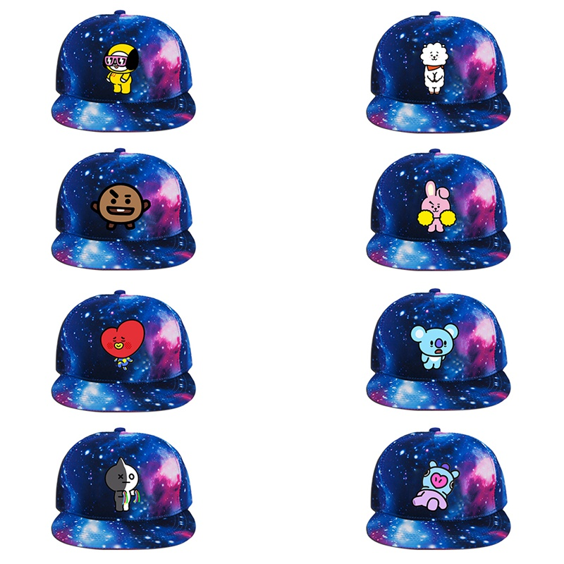 8 Style New Kpop BTS Bangtan Cartoon Boys Popular Star Sky 3D Printed Baseball Cute Caps The Same Letter Baseball Hat Peaked Cap