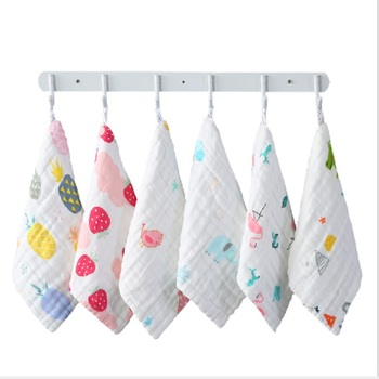 3pcs/lot Baby Muslin Face Towel Baby Cartoon Soft Cotton 6 layers Gauze Handkerchief Infant Baby Feeding Square Towel 30*30cm six layers of gauze cotton square towel children towel fold a handkerchief plain printed saliva towel
