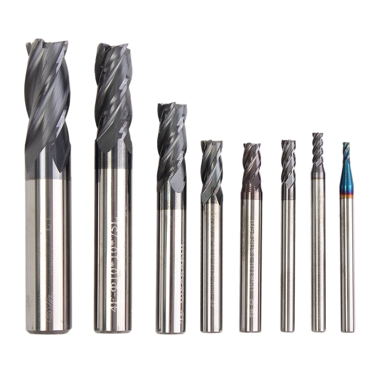 New 8Pcs Carbide End Mill 2-12mm 4 Blades Flute Tungsten Steel Milling Cutter CNC Tools Set Durable in use 1pcs high quality hss carbide end mill cnc tool diameter 12mm 4 blades flute mill cutter straight shank solid carbidet drill bit
