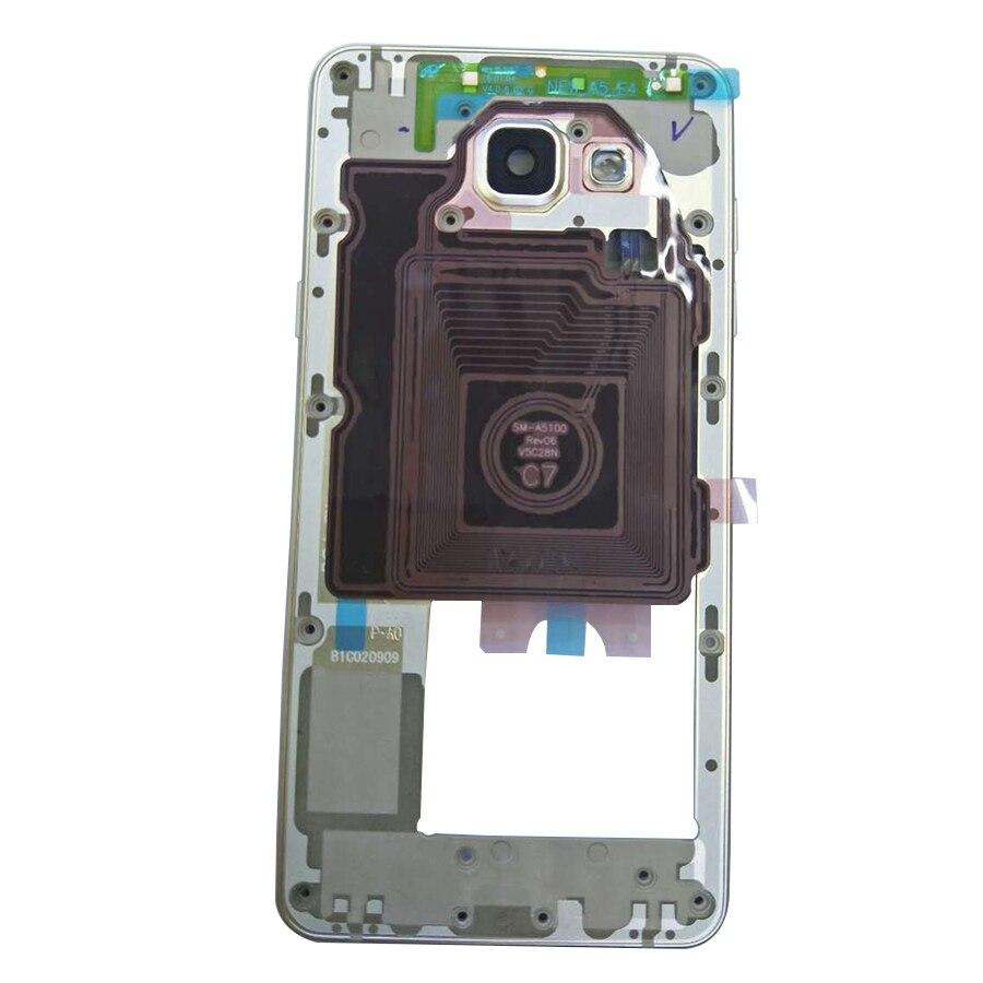 imágenes para AAA Calidad Plate Frame Medio Bisel Vivienda Chasis con Botones Laterales para Samsung Galaxy A5 2016 Versión A510