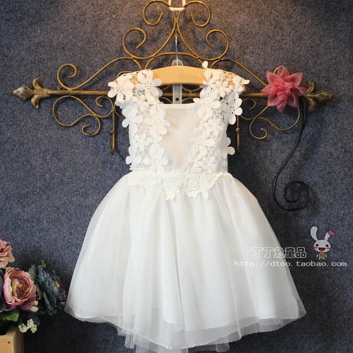 ФОТО Children's wear summer female baby white princess dress girl dress flower girl party dress girl