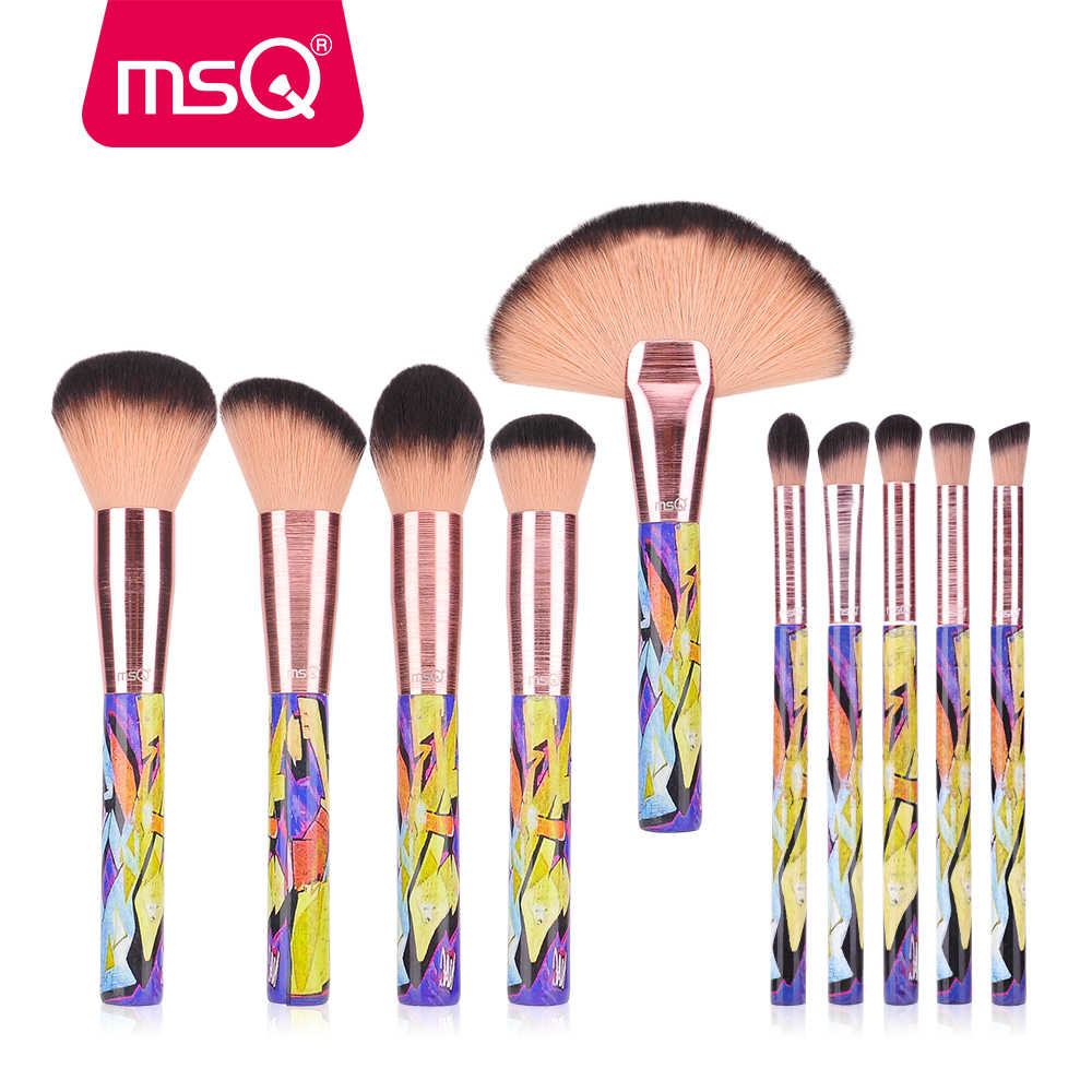 MSQ Pincéis de Maquiagem Definir Wiredrawing Ponteira Com Pintura de Madeira do Punho Pó Contour Highlighter Facial Make Up Brushes Set