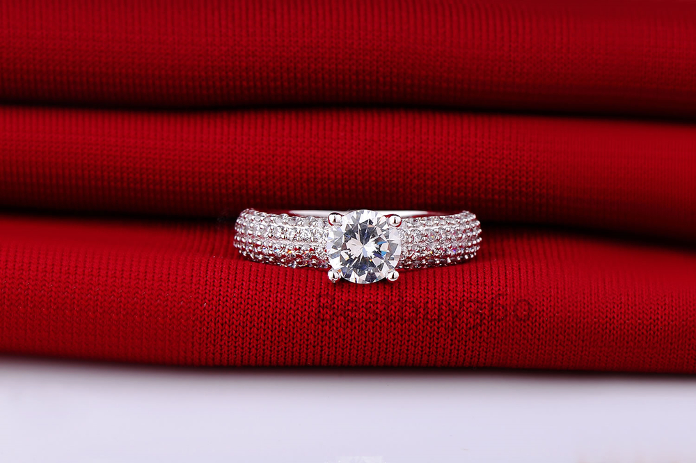 1 Carat 925 Sterling solid Silver NSCD Diamond ring for women wedding Engagement finger ring band anel anillo anneau (BB)
