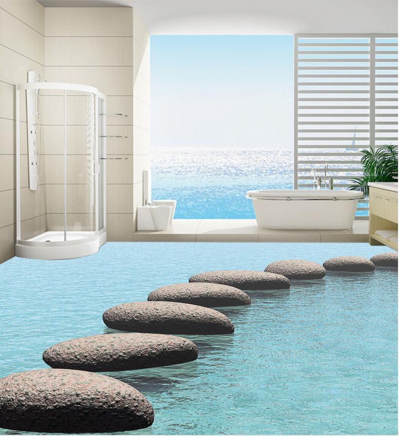 Waterproof floor mural painting lake Photo floor wallpaper 3d stereoscopic Home Decoration PVC waterproof floor