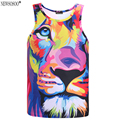 Newsosoo Impression style men 3d vest printing watercolor lion animals summer cool slim tank tops youth fashion Asia size DB9