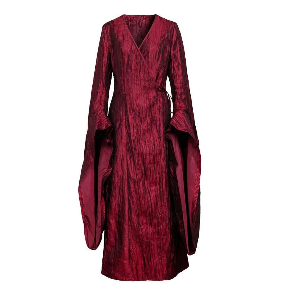 Takerlama Game Of Thrones Season 8 Melisandre Retro Merah Long Gaun Wanita Cosplay Halloween Karnaval Pesta Kostum