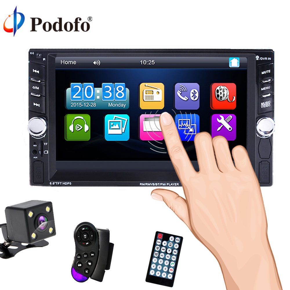 Podofo 2 Din 6.6'' LCD Touch Screen 12V Autoradio Car Audio Stereo Player Bluetooth Support Rear View Camera AUX FM USB SD MP5