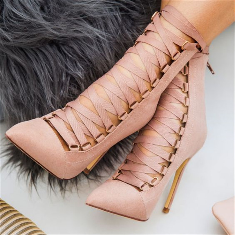 2018 New Arrivals Pumps Kid Suede Super High Fashion Solid Cross-tied Cover Heel Thin Heel Cross-Strap Party Show Shoes Women