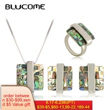 Blucome Fashion Abalone Shell Necklace Earrings Rings Jewelry Sets Square Pendant French Hooks Earrings Women Party Decorations(China)