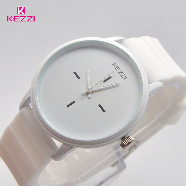 Kezzi Brand Black White Silicone Watches Student Women Men Sport Quartz Watch Couple Ultra Slim Casual Watch Relojer Feminino