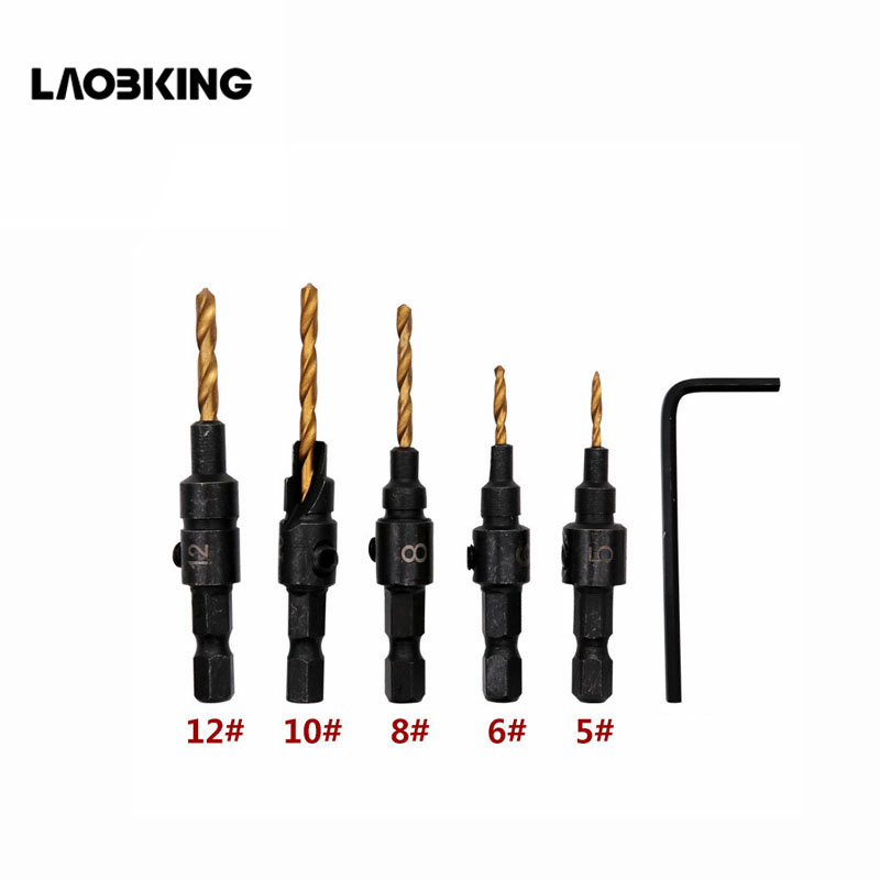 5pcs Countersink Drill Woodworking Tools Drill Bit Set Hex Shank Drilling Pilot Holes For Screw Sizes #5 #6 #8 #10 #12 DT7