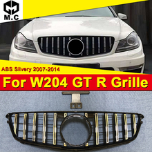 For MercedesMB W204 Sport grille grill GT R style ABS silver without sign C class C200 C63AMG look grills NOT FOR C63 AMG 07-14
