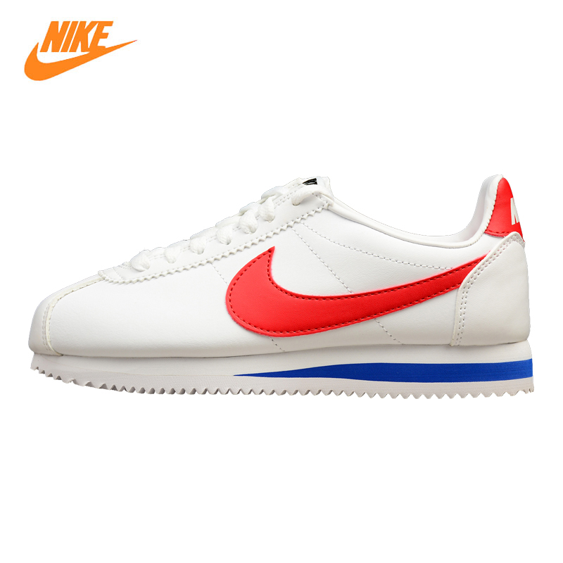 NIKE CLASSIC CORTEZ LEATHER Men's and Women's Shoes Running Shoes, White, Wear-resistant Breathable Lightweight 807471 103 стоимость