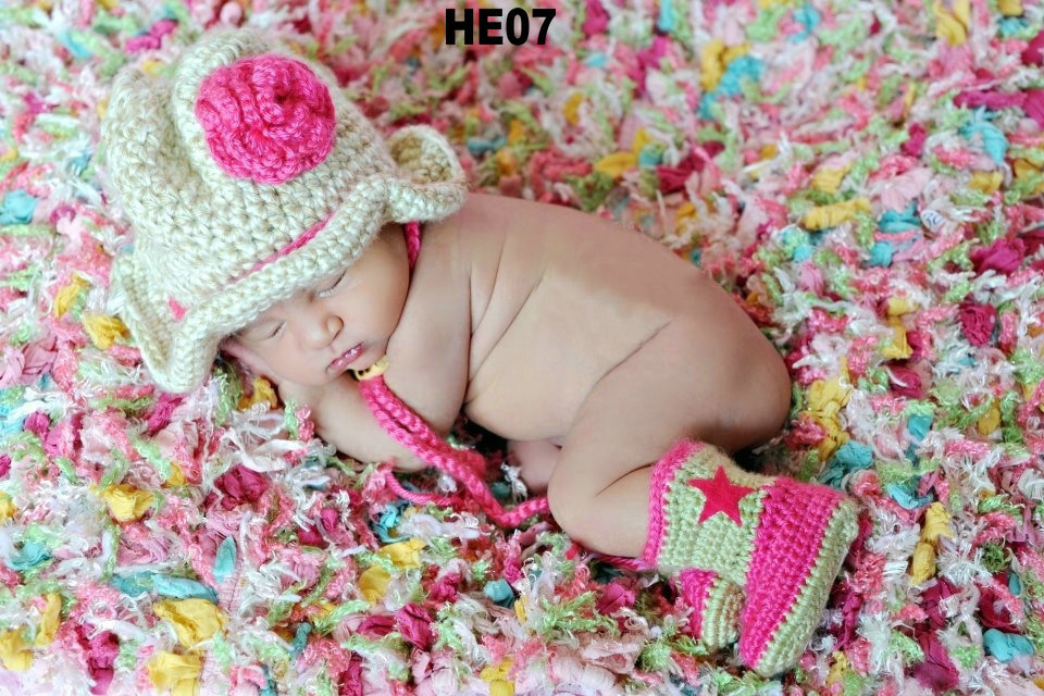 Free Shipping 30setlot Crochet Baby Cowboy Hat And Booties Sets