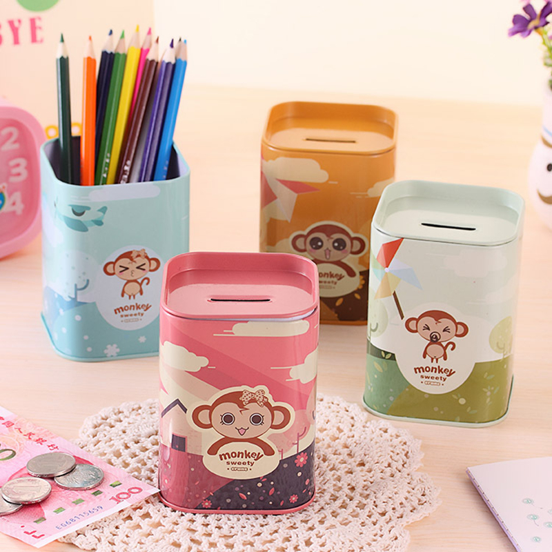 Cute monkey multifunctional penholder new Lucky monkey piggy bank Metal pen holders gift office organizer School supplies
