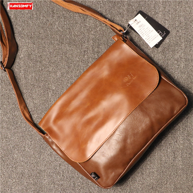 2019 new Men's simple shoulder diagonal bag trend crossbody pu leather male retro cross section messenger bag