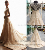 Real Sample Vintage Wedding Dresses 2015 Long Sleeve Lace Bridal Gowns A Line Beads Sheer Vestido