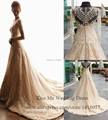 Real Sample Vintage Wedding Dresses 2015 Long Sleeve Lace Bridal Gowns A Line Beads Sheer Vestido de Casamento H679