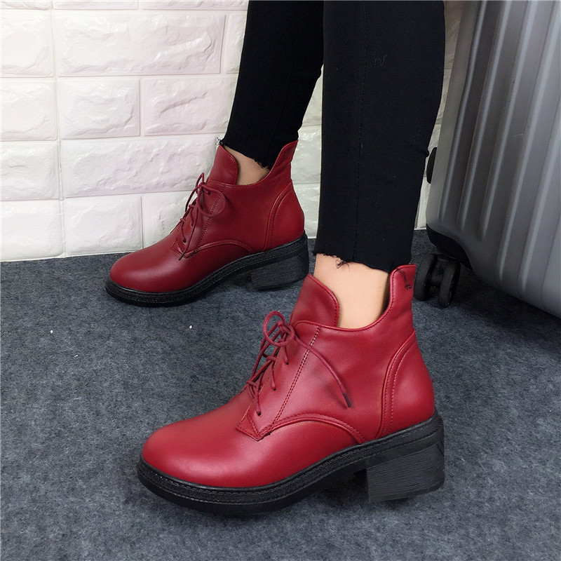 Neue Mode frauen Lace Up Combat Punk Ankle Martin Stiefel Weibliche - Damenschuhe - Foto 3