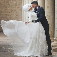 Fashion High Collar Lace Muslim Wedding Dress 2015 A Line White Arabic Wedding Gown Bride Dresses With Free Hijab