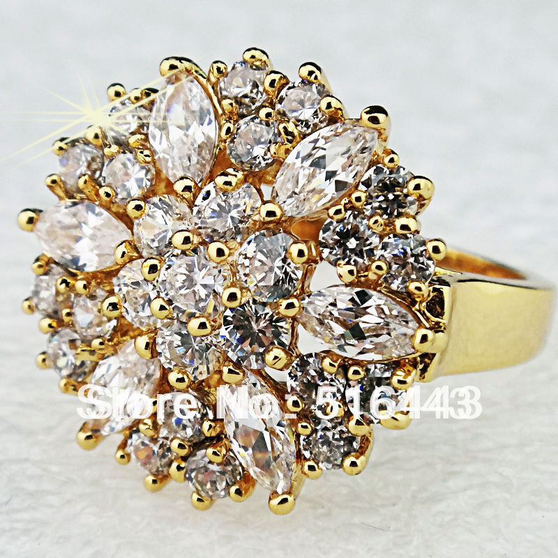 Brand Jewelry Full 3Cubic Zirconia 18K Gold Plated Engagement Wedding Rings Women Upscale A664 - Edna store