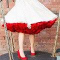 Cor vermelha Mulheres Underskirts Mini Curto Puffy Saia Tutu Para Saias das mulheres Com Fita Bow Sash Tulle Saia De Alta Qualidade mulheres
