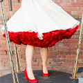 Red Color Women Underskirts Mini Short Puffy Tutu Skirt For Women With Ribbon Bow Sash Tulle Skirts High Quality Petticoat Women