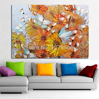 wall art modern Hand painted knife thick oil painting 3D a bunch of beige flowers home decoration chrysanthemum canvas picture